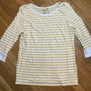 Lucky Brand Striped Shirt 3/4  Top Yellow White